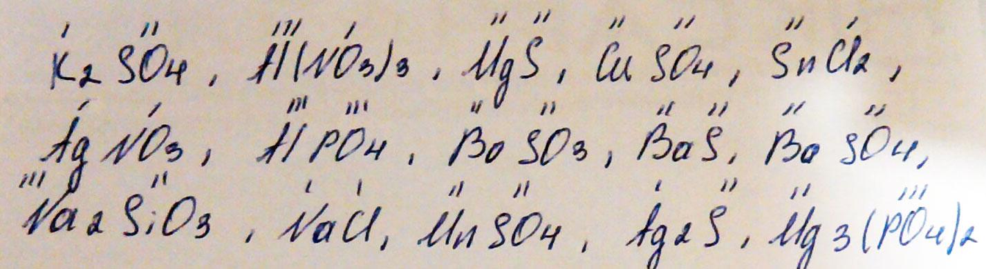 Назовите следующие соли: K2SO4, Al (NO3)3, MgS, CUSO4, SNCl2 AgNO3, AIPO4, BaSO3, BaS, BaSO4, Na2SiO3, NaCl, MnSO4, Ag2S, Mg3 (PO4)2. Укажите